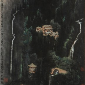 """Li Keran """"Landscape and Quiet Sound Figure"""" paper on cardboard colored ink on paper 91 x 59 cm 1988  290x290 - ART • SANYA Art Festival Special Exhibition Paying a Tribute to Traditional Chinese Painting Art Opened in Sanya"""