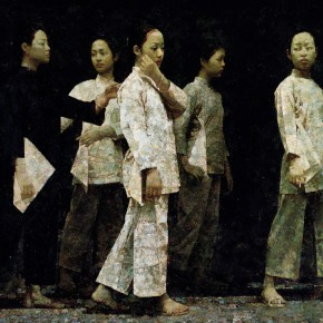 "Lin Yongkang, ""Zishu Women (Women tie their hair like a married woman themselves to express they will not marry until their dead)"", oil on canvas, 138.5 x 205 cm, 1999, it won the Silver Prize of the ""Ninth National Art Exhibiti"