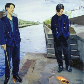 "Liu Xiaodong, ""Burning a Mouse"", oil on canvas, 152 x 137 cm, 1998"