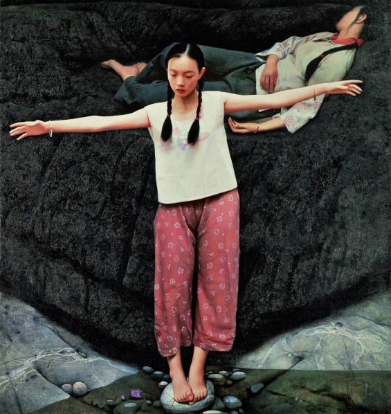 """Wang Yidong, """"Yi River"""", oil on canvas, 190 x 185 cm, 1993"""