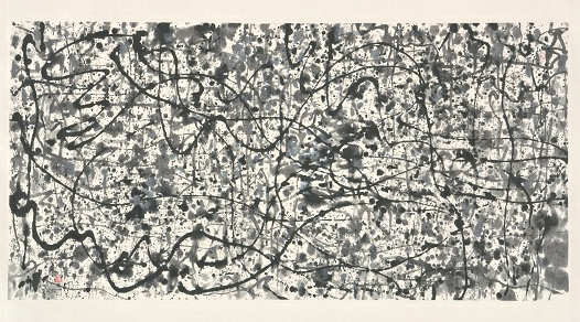 Wu Guanzhong, Wild Vines with Flowers like Pearls, 1997, ink on paper, 89 x 179 cm, gift of the artist, National Heritage Board collection.