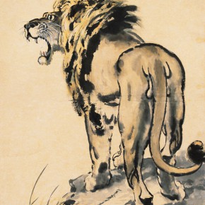 """Xu Beihong """"Male Lion Figure"""" vertical scroll colored ink on paper 106 x 60 cm 1943 290x290 - ART • SANYA Art Festival Special Exhibition Paying a Tribute to Traditional Chinese Painting Art Opened in Sanya"""