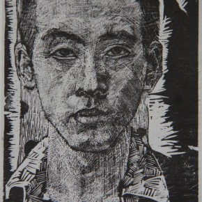 """002 Wang Huaxiang, """"Self-Portrait"""", woodblock print, artist's first work of woodblock created when he studied in CAFA"""