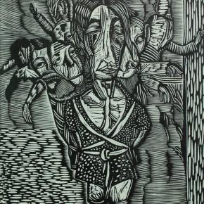"003 Wang Huaxiang, ""Chinese Pattern"", black and white woodblock print, 56 x 72 cm, 1996"