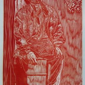 "008 Wang Huaxiang, ""Cloudy Day"", woodblock print, 61x 39 cm, 1991"