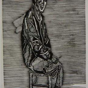 """009 Wang Huaxiang, """"Still Brilliant"""", woodblock print, 53 x 35.5 cm, 1991"""