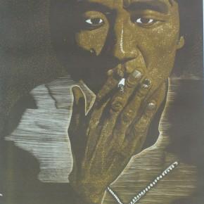 "010 Wang Huaxiang, ""Wandering"", color wood, block print, 33.4 x 40.1 cm, 1990"