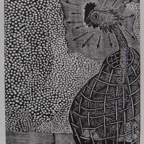 "011 Wang Huaxiang ""A Rooster Heralds the Break of Day"" woodblock print 30 x 38 cm 1996 290x290 - Wang Huaxiang"