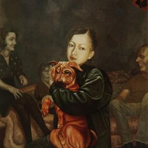 """013 Wang Huaxiang """"The Puppy Benben"""" oil on canvas 80.4 x 65.2 cm 1995 290x290 - Wang Huaxiang"""