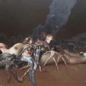 """017 Wang Huaxiang """"Fire"""" 110 x 80 cm 2012 oil painting 290x290 - Wang Huaxiang"""