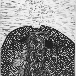 "019 Wang Huaxiang, ""Open the Mind"", woodblock print, 56 x 40 cm, 1996"