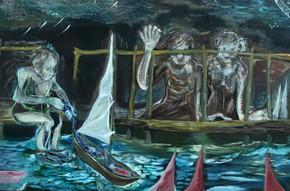 "02 Anna, ""Riverside Farewell"", oil on canvas, 96 x 193 cm, 2012"