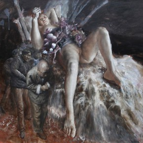 """022 Wang Huaxiang, """"Flood"""", 110 x 80 cm, oil on canvas, 2012"""