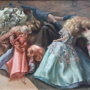 """024 Wang Huaxiang, """"Made Out of Whole Cloth"""", 50 x 70 cm, oil painting, 2012"""