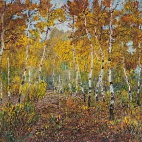 """03 Sun Yuntai """"Secluded Residency in the Thick Woods"""" oil on canvas 53 x 73 cm 1995 290x290 - Spring Mountains and Green Trees – Selected Works by Sun Yuntai, One of the First Generation of Oversea Chinese Students in Russia"""