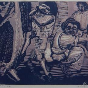 "030 Wang Huaxiang, ""Butchers"", woodblock print, 34.7 x 43.3 cm, 1991"