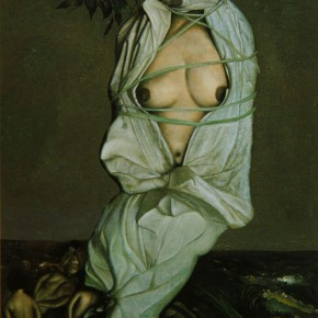 """035 Wang Huaxiang, """"Wipe Out Pornography"""", oil on canvas, 72.5 x 53 cm, 1996"""