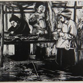 """036 Wang Huaxiang, """"Butcher Shop"""", woodblock print, 30 x 30 cm"""