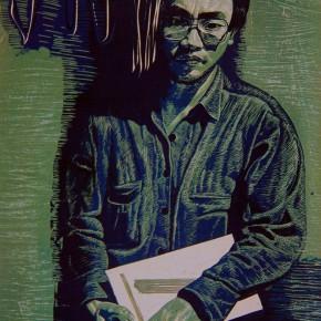 """041 Wang Huaxiang, """"Young Teacher No.2"""", woodblock print, 78.3 x 60.5 cm, 1991"""
