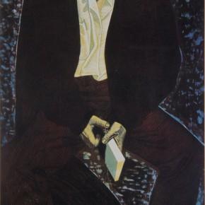 """042 Wang Huaxiang """"A Strange Gaze"""" woodblock print 52.6 x 104.8 cm 1990 290x290 - Wang Huaxiang"""
