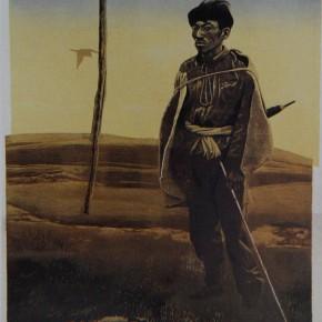 """045 Wang Huaxiang, """"Herdsman"""", color woodblock print, 51.7 x 43.5 cm, 1988"""