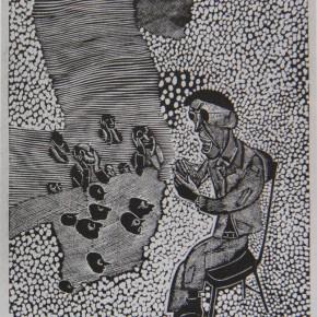 """046 Wang Huaxiang, """"Ambiguity Dialectic"""", woodblock print, 38 x 30 cm, 1996"""