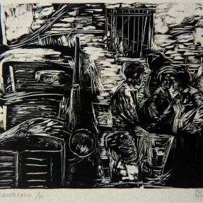 """048  Wang Huaxiang, """"After Selling Meats"""", 47 x 63 cm, 1990"""