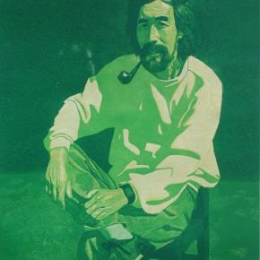 "049 Wang Huaxiang, ""Green Background"", color woodblock print, 69 x 58 cm, 1990"