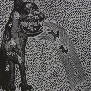 "050 Wang Huaxiang, ""The Secret of Antelopes Study Running"", woodblock print, 38 x 30 cm, 1996"