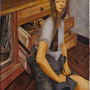 """051 Wang Huaxiang """"Open the Drawers"""" oil on canvas 100 x 80 cm 1995 290x290 - Wang Huaxiang"""