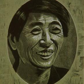 "053 Wang Huaxiang ""Close Quarters – Mr. Tan"" woodblock print 1991 290x290 - Wang Huaxiang"