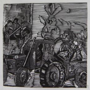 "054 Wang Huaxiang, ""A Tractor Runs across the Street"", woodblock print, 60 x 59 cm, 1990"
