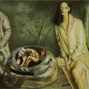 """055 Wang Huaxiang, """"Family"""", oil on canvas, 64 x 73 cm, 1994"""
