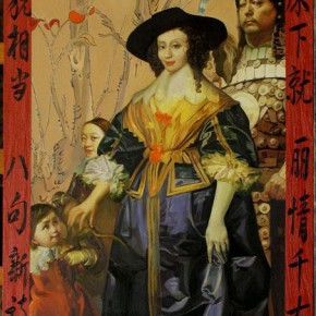 "056 Wang Huaxiang ""A Beautiful Young Woman and a Talented Man"" oil on canvas 170 x 70 cm 2006 290x290 - Wang Huaxiang"
