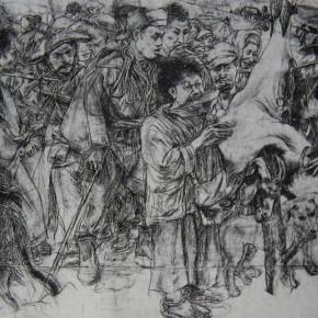 "059 Wang Huaxiang, ""Pagoda Tree"", drawing, 31 x 40 cm, 1988"