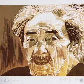 """063 Wang Huaxiang """"People from Guizhou No.1"""" color woodblock print 36.8 x 27.7 cm 1988 290x290 - Wang Huaxiang"""