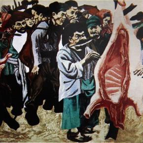 """066 Wang Huaxiang """"People from Guizhou Chinese Scholar Tree"""" woodblock print 31 x 40 cm 1988 290x290 - Wang Huaxiang"""
