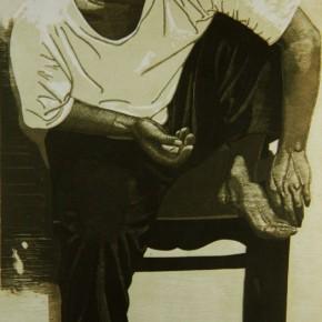 "068 Wang Huaxiang, ""A Barefoot Man (Young Teacher)"", woodblock print, 104.5 x 53.5 cm, 1990"