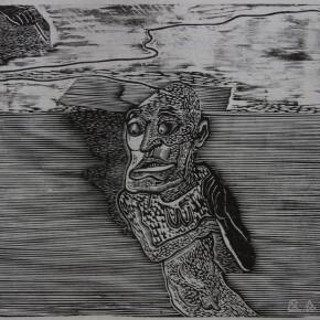 """070 Wang Huaxiang, """"Kite Series No.4"""", woodblock print, 41 x 45 cm, 1990"""