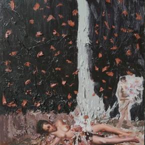 """074 Wang Huaxiang, """"The Wind Blowing Back No.24"""", 90 x 110 cm, 2011"""