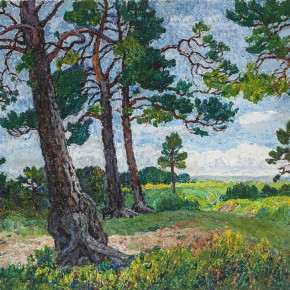 """08 Sun Yuntai """"Fresh Green of Old Pines"""" oil on canvas 73 x 53.5 cm 1997 290x290 - Spring Mountains and Green Trees – Selected Works by Sun Yuntai, One of the First Generation of Oversea Chinese Students in Russia"""