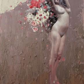 """082 Wang Huaxiang, """"The Wind Blowing Back No.13"""", 100 x 80 cm, 2010"""