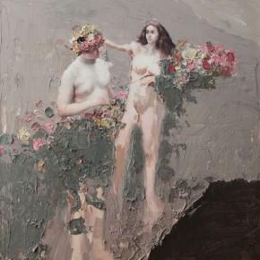 """084 Wang Huaxiang, """"The Wind Blowing Back No.11"""", 100 x 80 cm, 2010"""