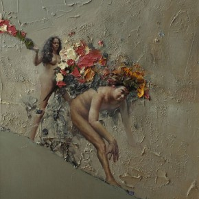 """085 Wang Huaxiang, """"The Wind Blowing Back No.10"""", 100 x 80 cm, 2010"""