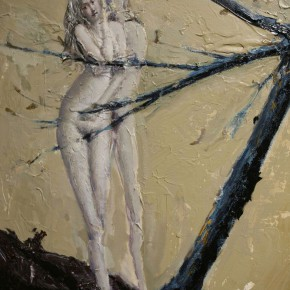 """087 Wang Huaxiang, """"The Wind Blowing Back No.08"""", 100 x 80 cm, 2009"""
