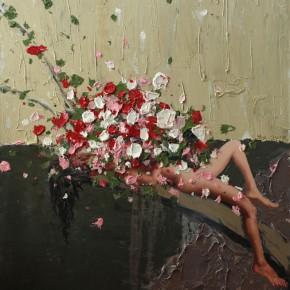 """089 Wang Huaxiang, """"The Wind Blowing Back No.06"""", 150 x 120 cm, 2009"""