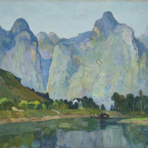 """09 Sun Yuntai """"Left Only Empty and Lonely Green Mountains"""" oil on canvas 50 x 60 cm 1993 290x290 - Spring Mountains and Green Trees – Selected Works by Sun Yuntai, One of the First Generation of Oversea Chinese Students in Russia"""