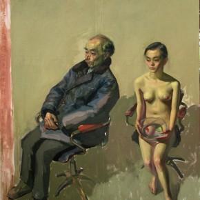 """096 Wang Huaxiang """"Fallen Goldfish"""" oil on canvas 2006 290x290 - Wang Huaxiang"""