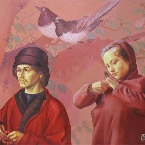 """099 Wang Huaxiang, """"It's an Unhappy Marriage That Don't Marry the Lover"""", oil on canvas, 2006"""