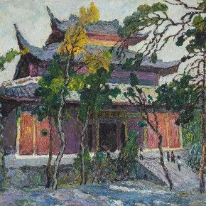 """10 Sun Yuntai """"Purple Courtyard in the Sunlight"""" oil on canvas 65 x 50 cm 1996 290x290 - Spring Mountains and Green Trees – Selected Works by Sun Yuntai, One of the First Generation of Oversea Chinese Students in Russia"""